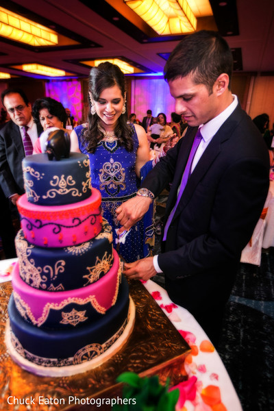 Cake Cutting in Greenville, SC Indian Wedding by Chuck Eaton Photographers
