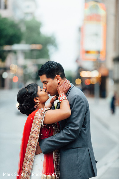 First Look in San Antonio, TX Indian Fusion Wedding by Mark Sobhani Photography