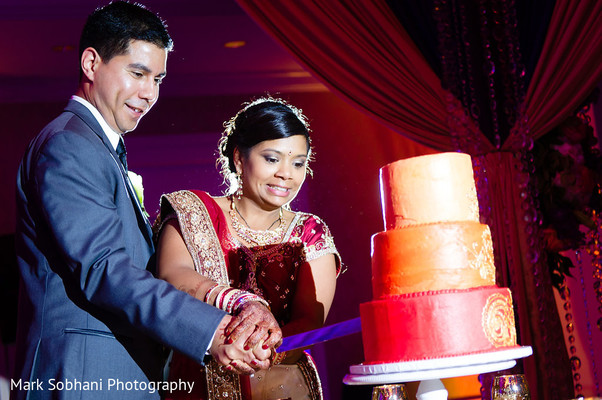 Cake Cutting in San Antonio, TX Indian Fusion Wedding by Mark Sobhani Photography