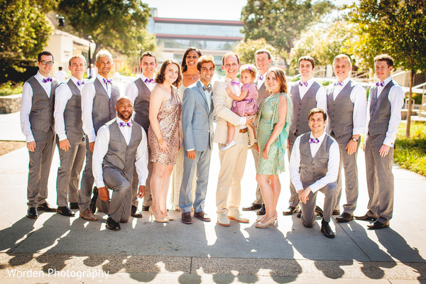 Wedding Party Portrait in Claremont, CA Indian Fusion Wedding by Worden Photography