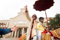 The groom celebrating at the baraat!
