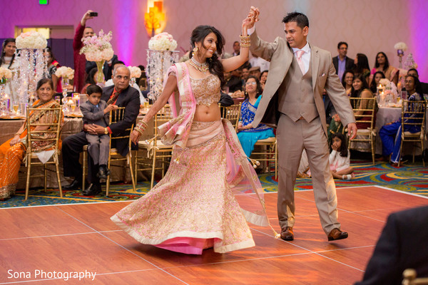 indian wedding reception,indian fusion wedding reception,indian wedding lengha,indian weddings,indian bride and groom first dance