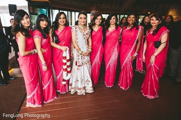 Bridal Party Portrait in Hilton Head Island, SC Indian Wedding by FengLong Photography