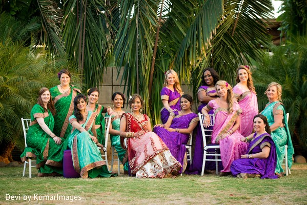 Bridal Party Portrait in Costa Rica Indian Fusion Destination Wedding by Devi by KumarImages