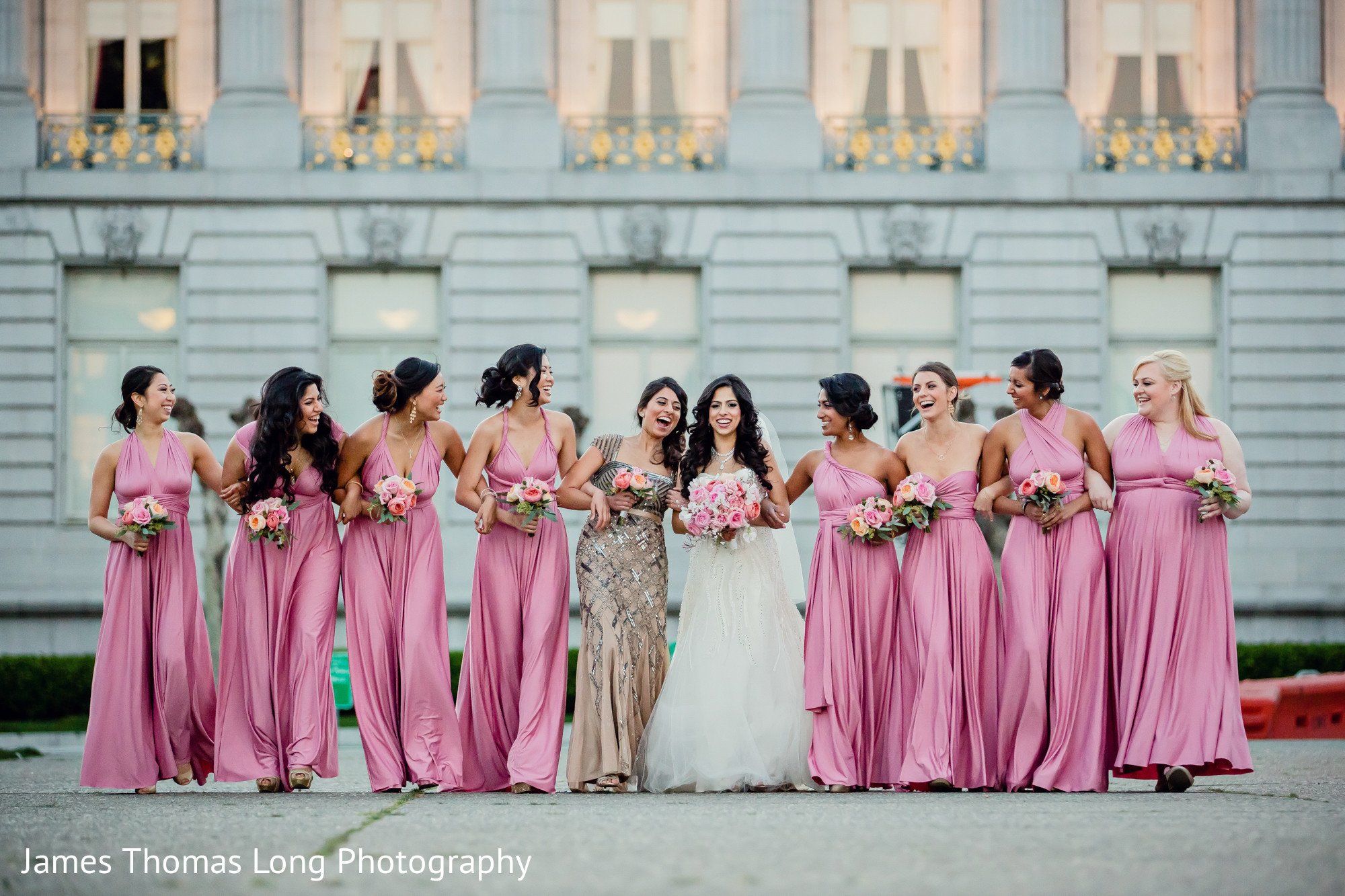 Bridal Party Portrait In San Francisco CA Indian Wedding By James Thomas Long Photography