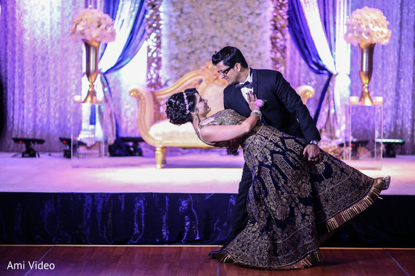 indian fusion wedding reception,indian wedding lengha,suit,sweetheart stage,indian bride and groom first dance,indian bridal hair accessories