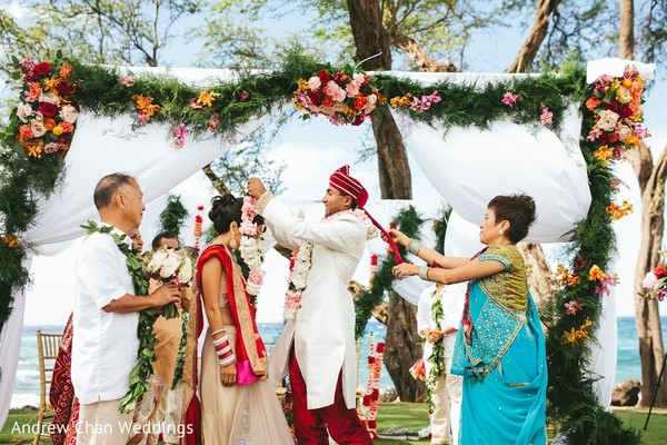 Ceremony in Maui, HI Destination Indian Fusion Wedding by Andrew Chan Weddings
