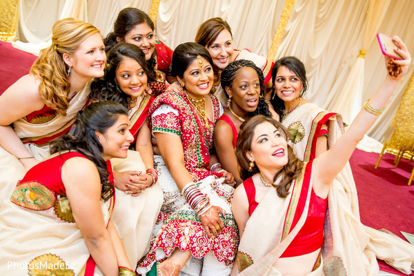Bridal Party Portrait in Mahwah, NJ Indian Wedding by PhotosMadeEz