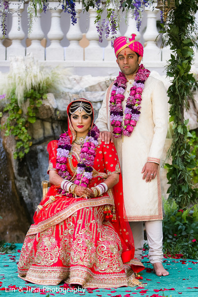 outdoor indian wedding portraits,indian bridal fashions,indian wedding lengha,indian groom sherwani,headpiece,indian bridal hair and makeup