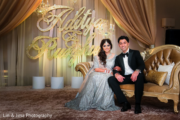indian fusion wedding reception,indian sari,tuxedo,indian bridal hair and makeup,sweetheart stage