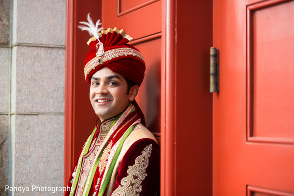 Groom Portrait in Philadelphia, PA Indian Wedding by Pandya Photography