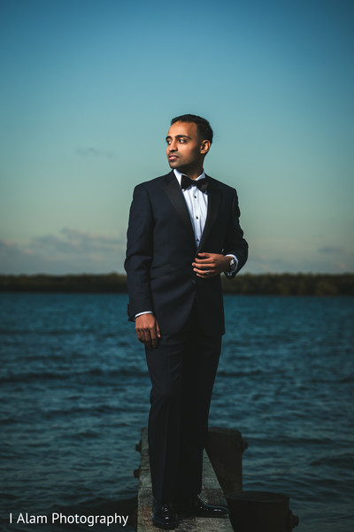 Groom Portrait in Miramar, FL South Asian Wedding by I Alam Photography