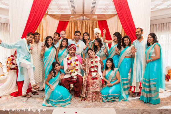 indian wedding portrait,indian bridesmaids,indian groomsmen