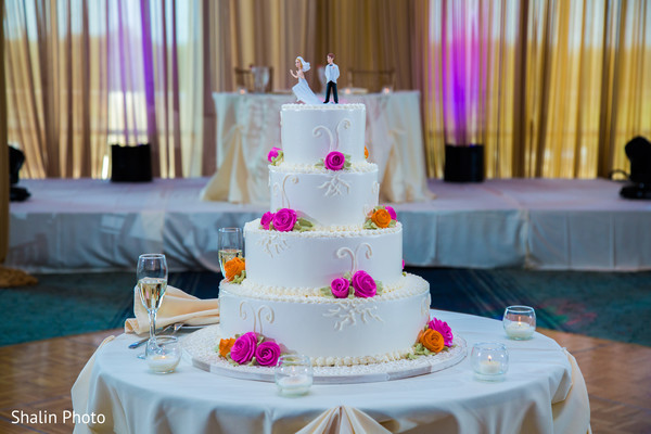 Wedding Cake in Itasca, IL Indian Fusion Wedding by Shalin Photo