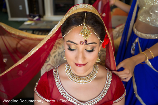 getting ready,hair and makeup,makeup,tikka,necklace,gold bridal set