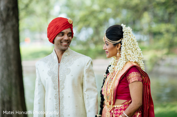 First Look in Dallas, TX Indian Wedding by Matei Horvath Photography