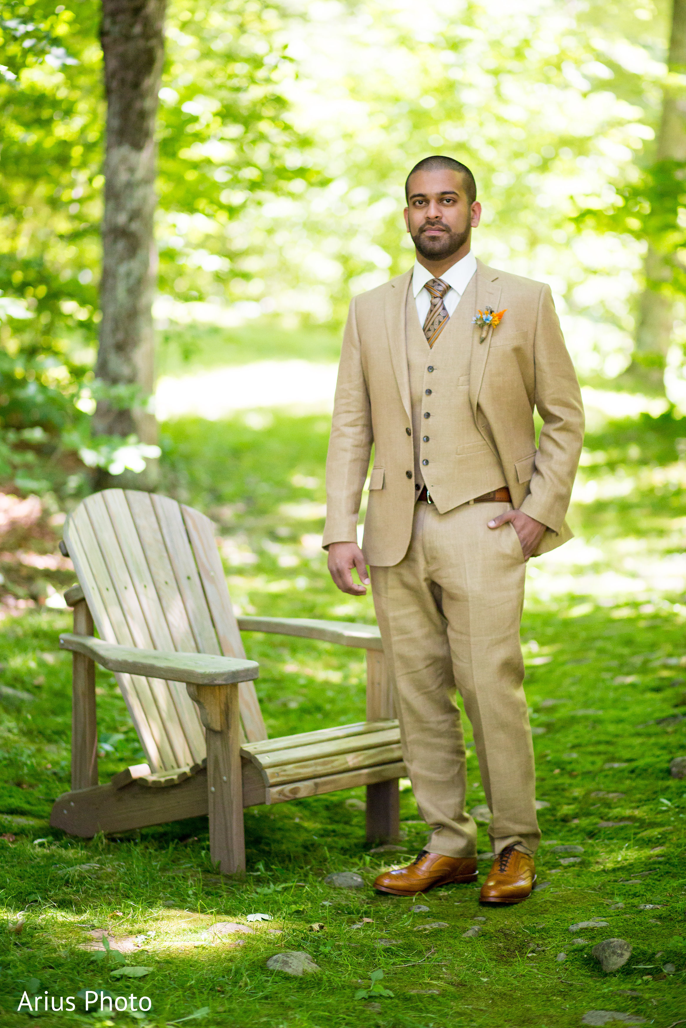 Groom Portrait in Big Indian, NY Indian Fusion Wedding by Arius ...