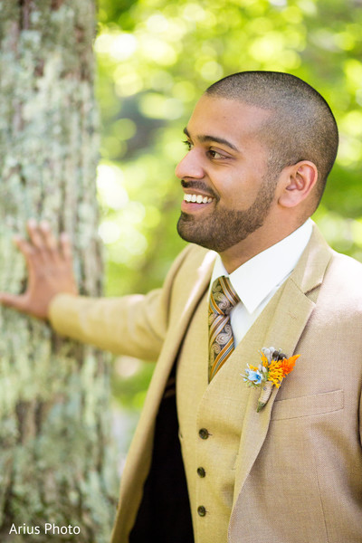 Groom Portrait in Big Indian, NY Indian Fusion Wedding by Arius Photo