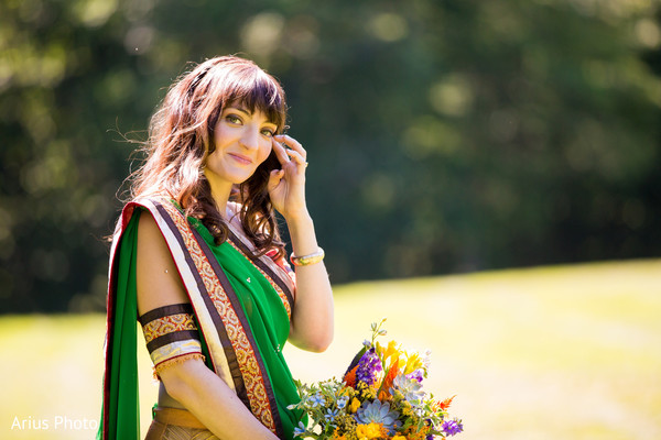 Bridal Portrait in Big Indian, NY Indian Fusion Wedding by Arius Photo