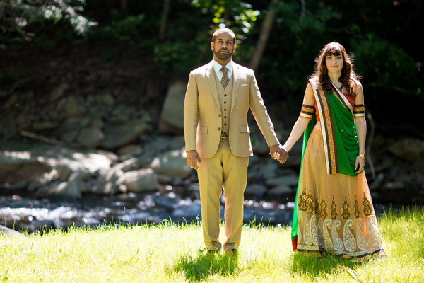 First Look in Big Indian, NY Indian Fusion Wedding by Arius Photo