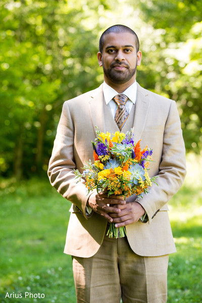 Groom & Bouquet in Big Indian, NY Indian Fusion Wedding by Arius Photo