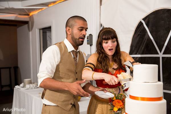 Cake Cutting in Big Indian, NY Indian Fusion Wedding by Arius Photo