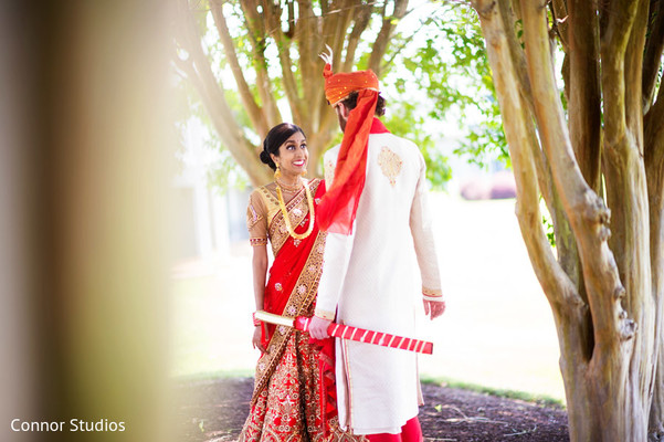 First Look in Williamsburg, VA Indian Fusion Wedding by Connor Studios