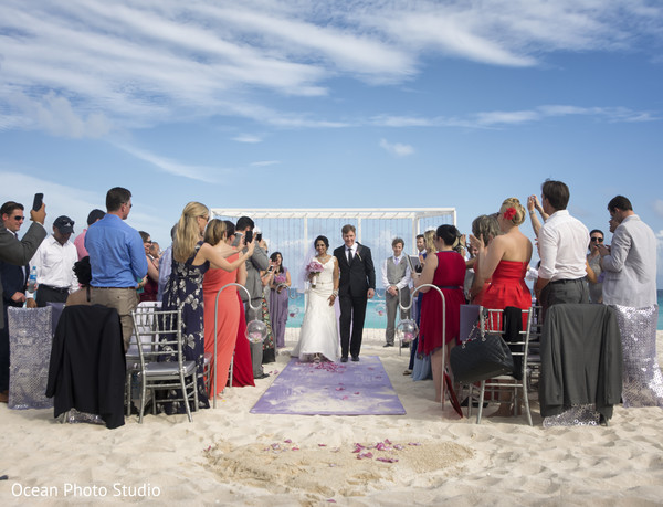 Outdoor Ceremony in Cancun, Mexico Destination Indian Fusion Wedding by Ocean Photo Studio