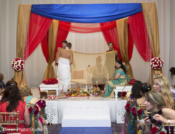 Ceremony in Cancun, Mexico Destination Indian Fusion Wedding by Ocean Photo Studio