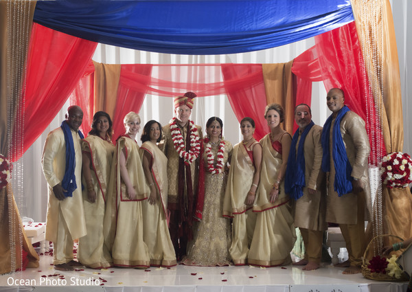 indian wedding,indian ceremony,indian wedding ceremony,mandap,bridal party,groomsmen,lengha,sari,sherwani