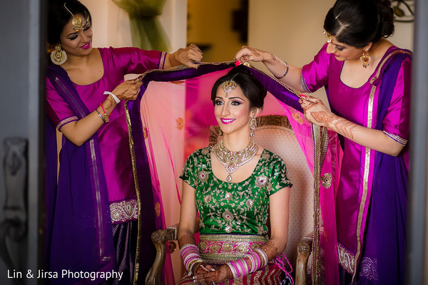 getting ready,hair and makeup,lengha,bridal fashion,gold bridal set,tikka,dupatta