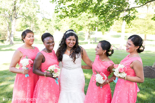 first look,first look portraits,bridesmaids,bridal bouquet,white wedding dress,bridesmaids dresses,outdoor portraits