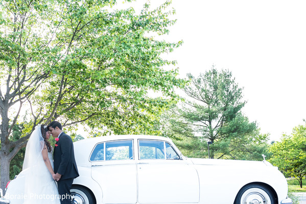 first look,first look portraits,white wedding dress,suit,outdoor portraits,transportation