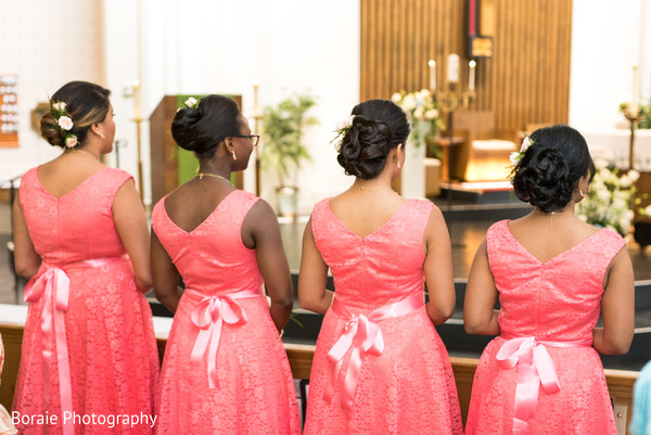 ceremony,church ceremony,indoor ceremony,bridal party,bridesmaids,bridesmaids dresses