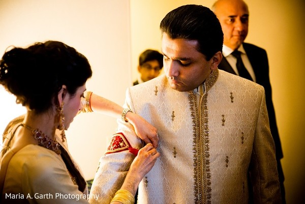 Groom Getting Ready in Claymont, DE Pakistani Wedding by Maria A. Garth Photography