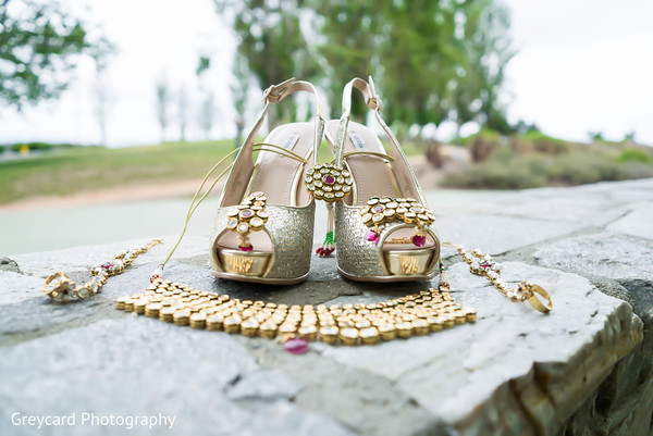 Gold Jewelry Set in Los Angeles, CA Sikh Wedding by Greycard Photography