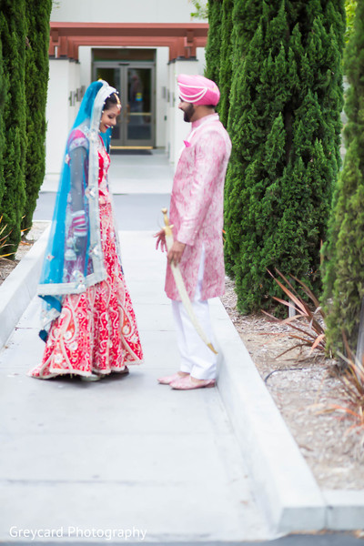 First Look in Los Angeles, CA Sikh Wedding by Greycard Photography