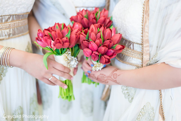 Bridal Party Bouquet in Los Angeles, CA Sikh Wedding by Greycard Photography
