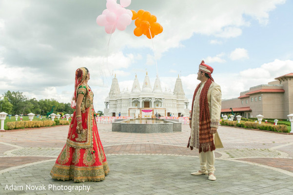 First Look in Rosemont, IL Indian Wedding by Adam Novak Photography