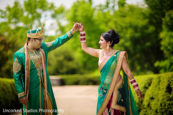 first look,first look portraits,bridal fashion,bridal sari,sherwani,groom fashion,hair,outdoor portraits,portraits,pagri