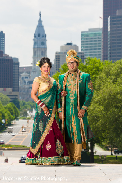 first look,first look portraits,bridal fashion,lengha sari,lengha,sherwani,groom fashion,outdoor portraits,portraits
