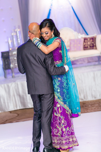 indian bride and groom first dance,reception lengha,indian weddings,indian fusion wedding reception,indian bridal hair and makeup