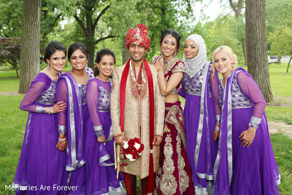 Bridal Party Portrait in St. Louis, MO Indian Wedding by Memories Are Forever