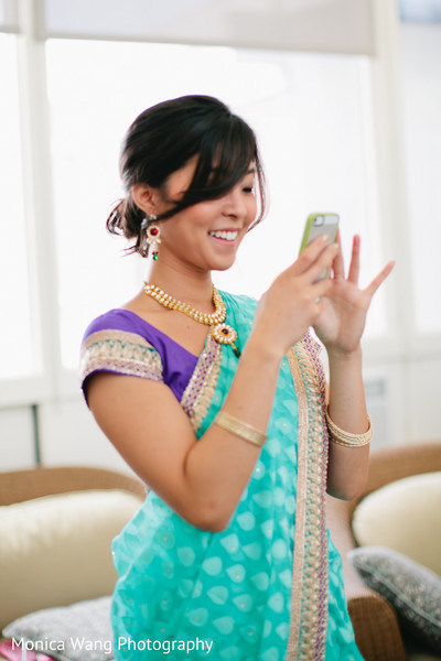 Getting Ready in Malibu, CA Indian Fusion Wedding by Monica Wang Photography