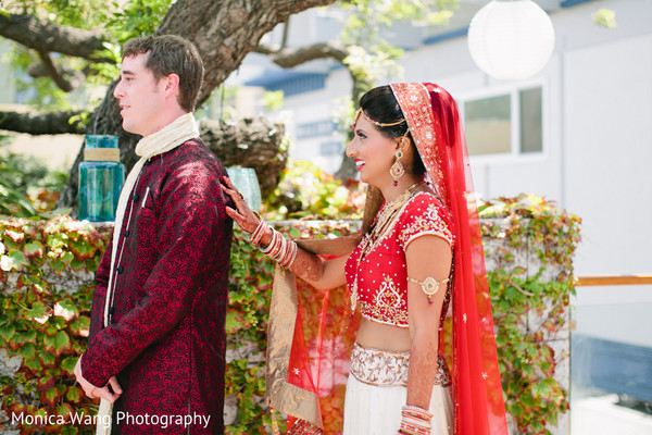 First Look in Malibu, CA Indian Fusion Wedding by Monica Wang Photography
