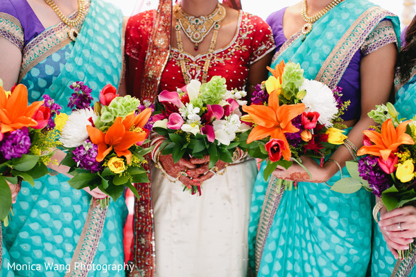 Bridal Party Portrait in Malibu, CA Indian Fusion Wedding by Monica Wang Photography