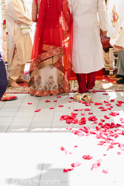 Ceremony in Malibu, CA Indian Fusion Wedding by Monica Wang Photography