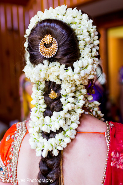 Bridal Hairstyle in New Vrindaban, WV Indian Wedding by Lotus Eyes Photography