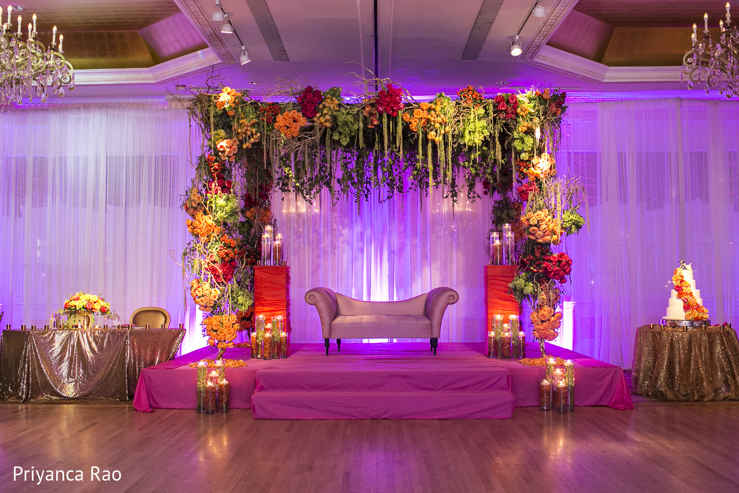 floral decor in long island ny indian fusion wedding by priyanca rao photography maharani. Black Bedroom Furniture Sets. Home Design Ideas