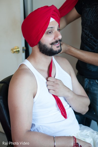Groom Getting Ready in Burlington, NJ Sikh Wedding by Raj Photo Video